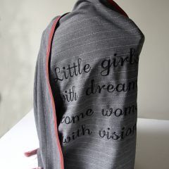 "Gray over size scarf ""Little girls with dreams become women with vision"""
