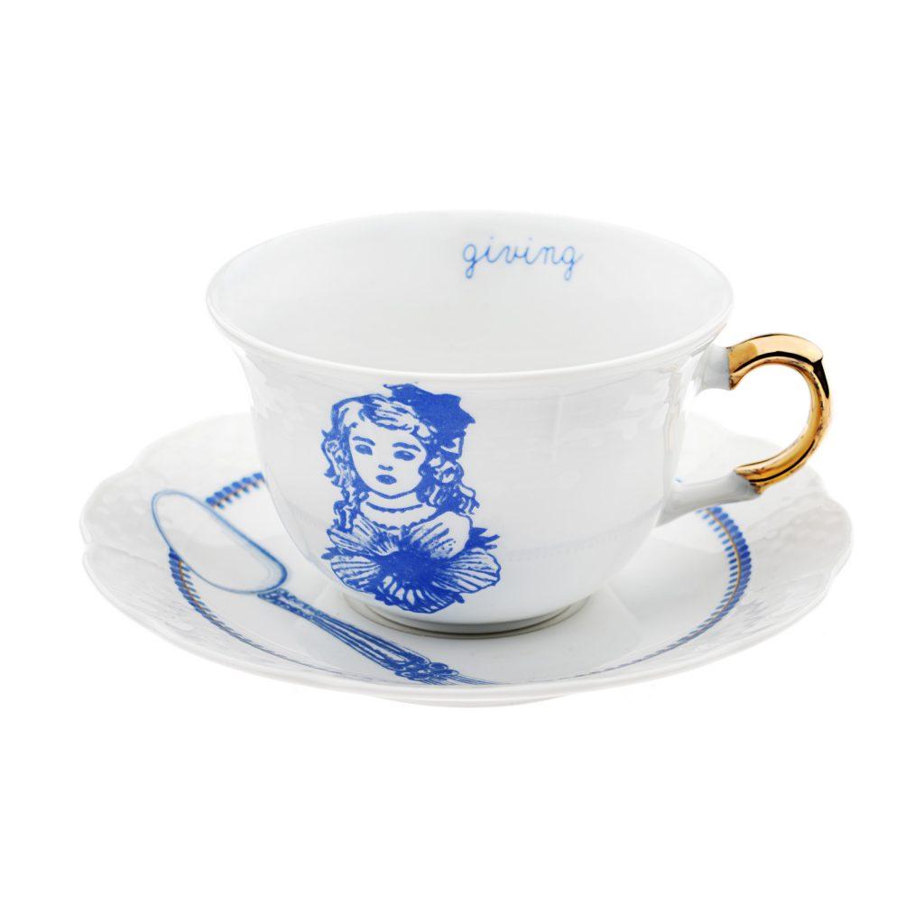 Giving tea cup