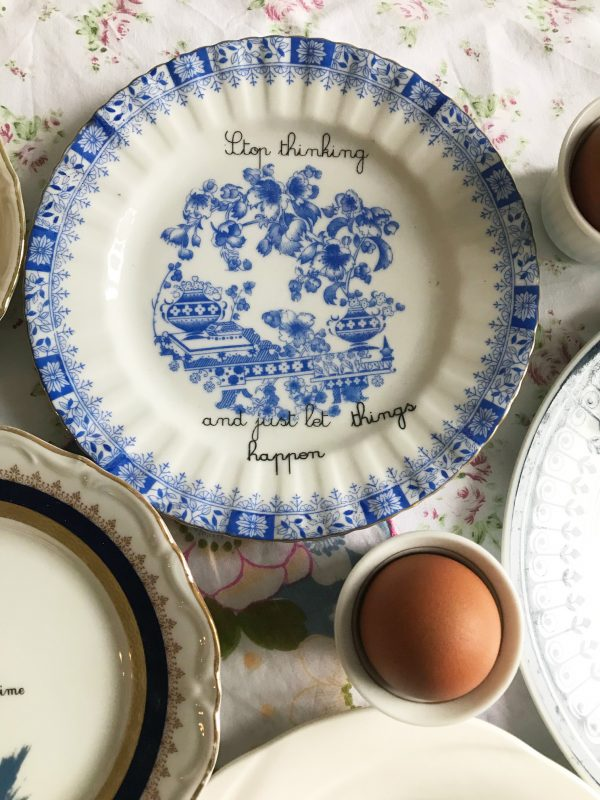 Porcelain plate STOP THINKING