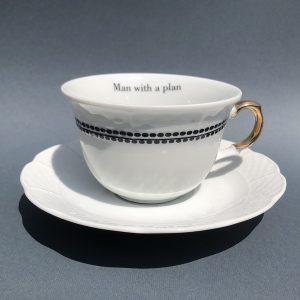 Man with plan teacup